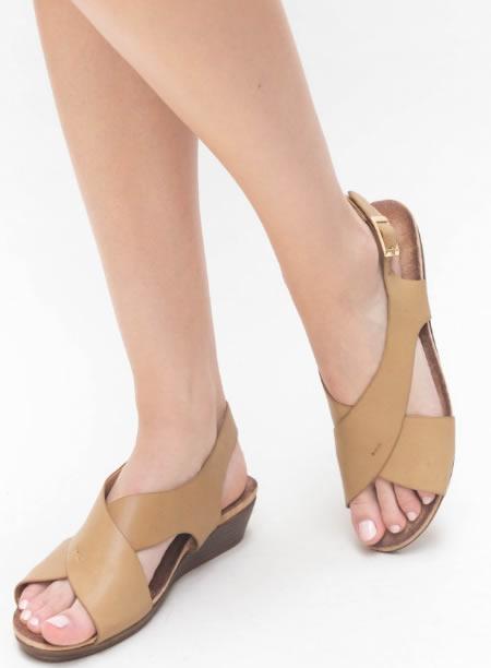 Sandale Casual Cu Platforma Joasa Bej