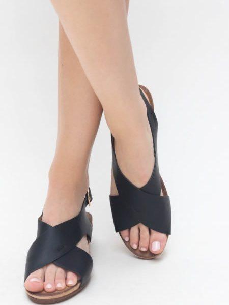 Sandale Casual Cu Platforma Joasa Negre