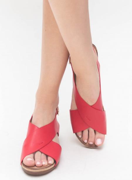 Sandale Casual Cu Platforma Joasa Rosii