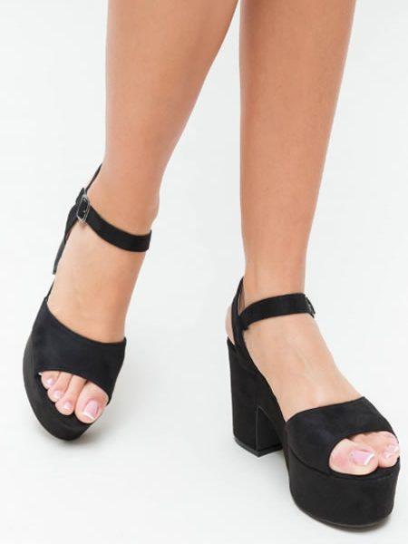 Sandale Casual Cu Toc Gros Si Platforma Negre