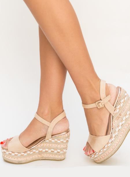 Sandale Cu Platforma Impletita Bej
