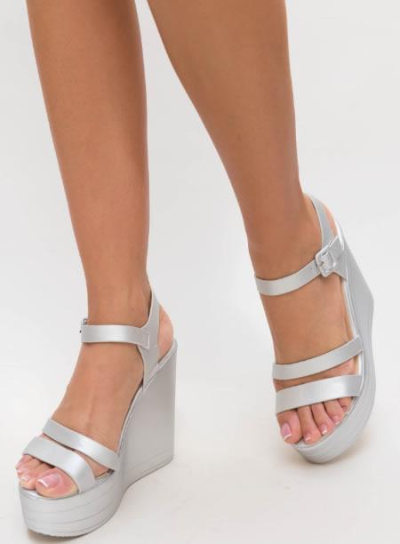 Sandale Cu Platforma Inalta Argintii