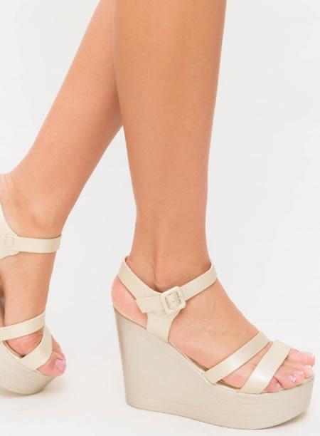 Sandale Cu Platforma Inalta Ieftine Bej