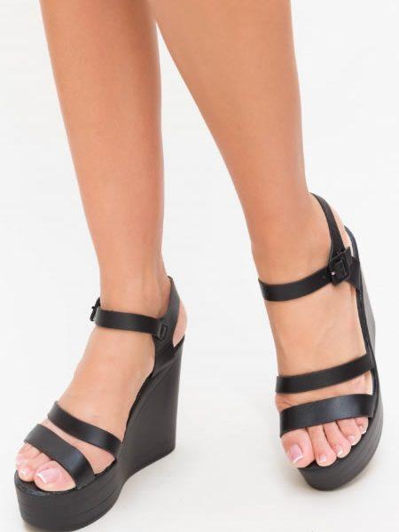 Sandale Cu Platforma Inalta Negre