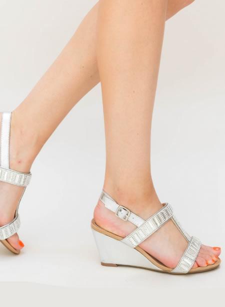 Sandale Cu Platforma Joasa Argintii Ieftine
