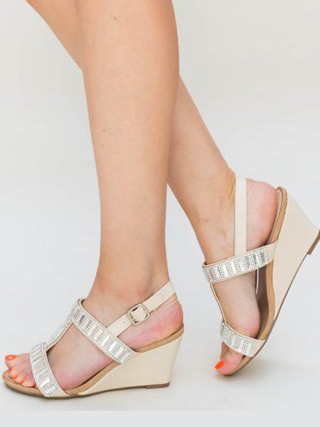 Sandale Cu Platforma Joasa Aurii