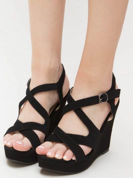 Sandale Cu Platforma Ortopedica Negre Inalta