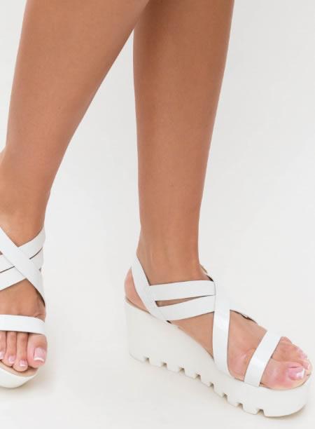 Sandale Cu Platforma Plata Senila Albe
