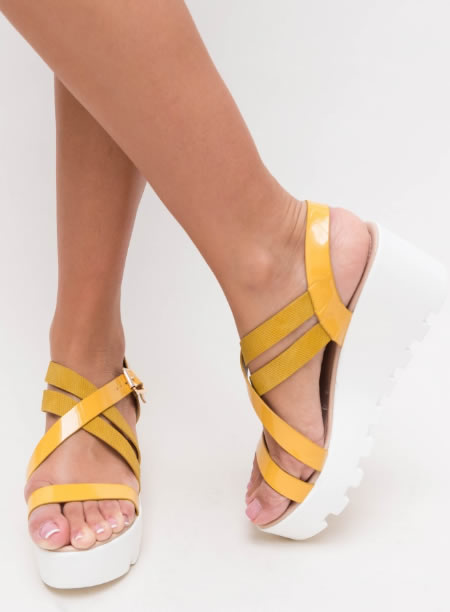 Sandale Cu Platforma Plata Senila Galbene