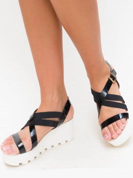 Sandale Cu Platforma Plata Senila Negre