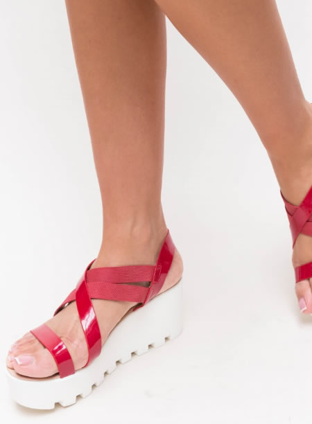 Sandale Cu Platforma Plata Senila Rosii