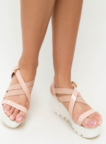 Sandale Cu Platforma Plata Senila Roz