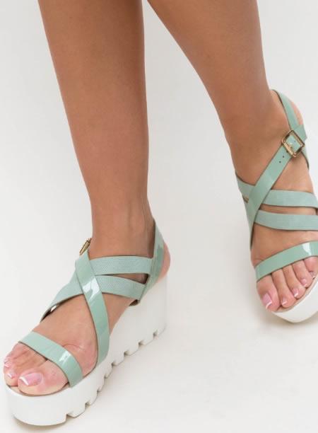 Sandale Cu Platforma Plata Senila Verzi