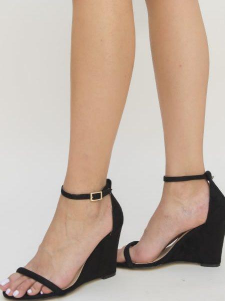 Sandale Cu Platforma Subtire Neagra