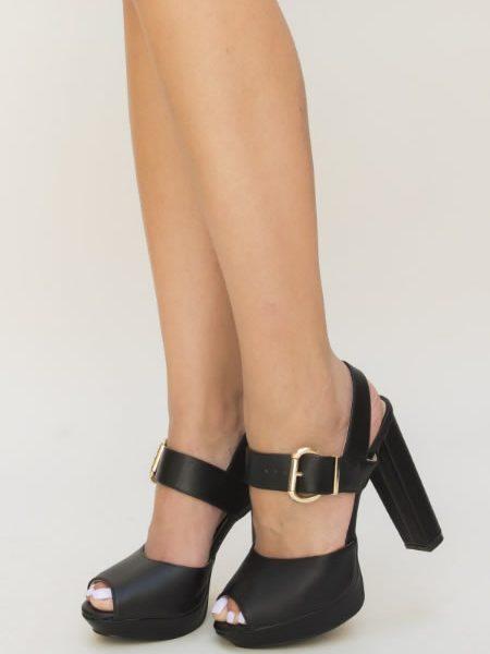 Sandale Cu Toc Bareta Si Platforma Negre
