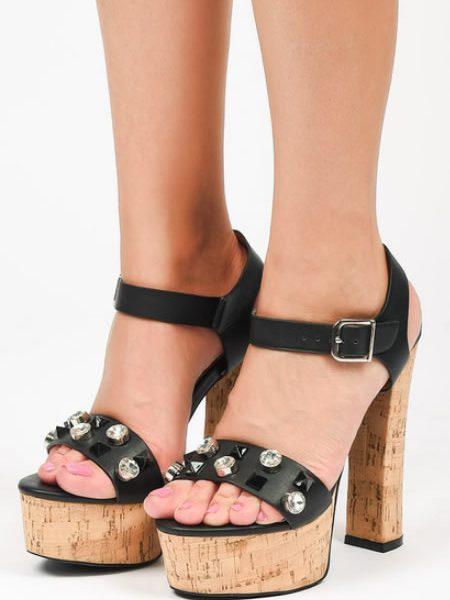 Sandale Cu Toc Gros Si Platforma Din Lemn