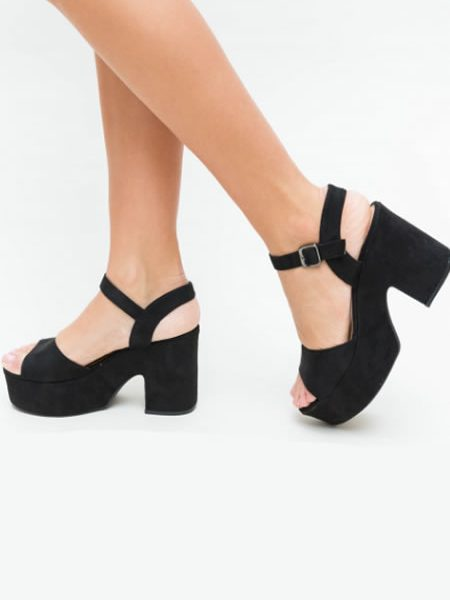 Sandale Cu Toc Gros Si Platforma Negre