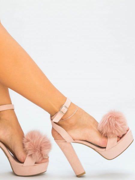 Sandale Cu Toc Si Platforma Roz