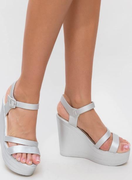Sandale Dama Cu Platforma Inalta Argintii