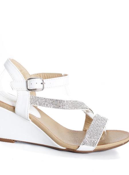 Sandale Dama Cu Platforma Joasa Albe