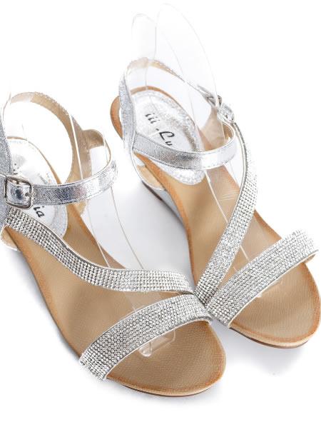 Sandale Dama Cu Platforma Joasa Argintii