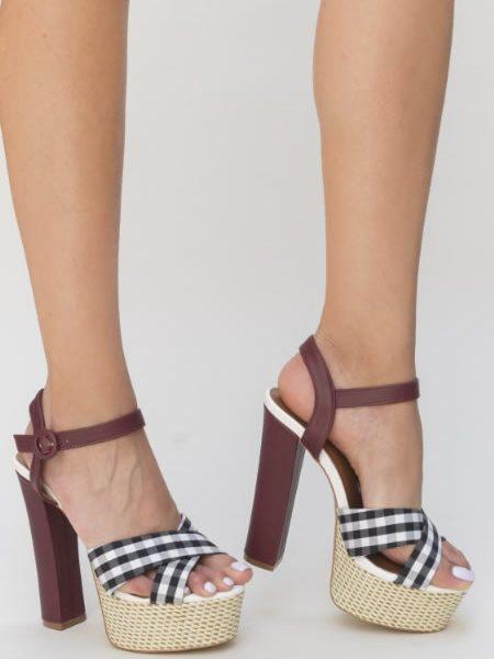 Sandale Dama Cu Toc Gros Si Platforma Retro