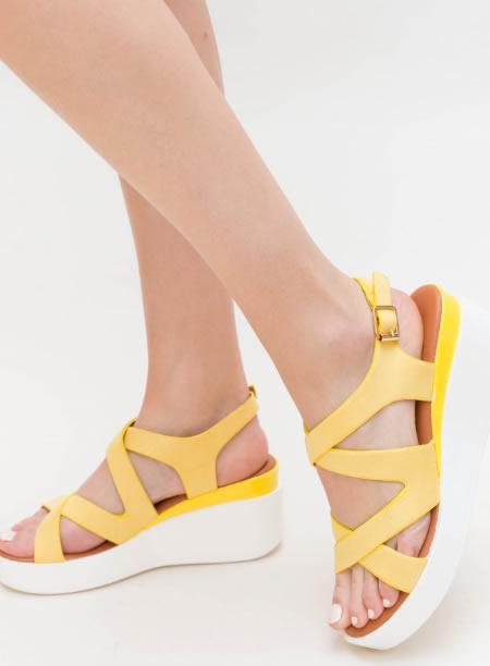 Sandale Dama Galbene Cu Platforma Alba