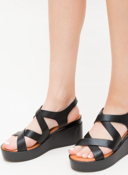 Sandale Dama Negre Cu Platforma Alba