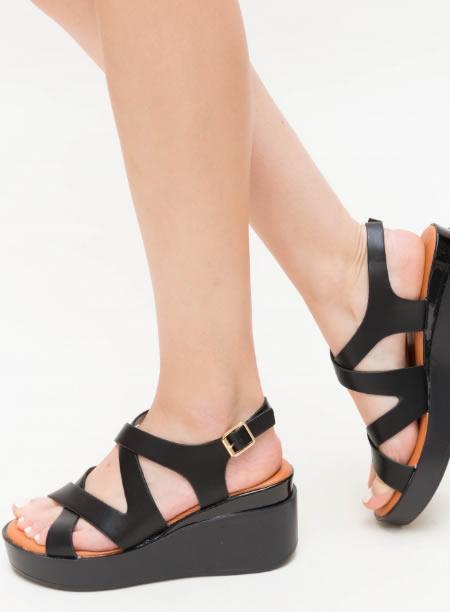 Sandale Dama Negre Cu Platforma