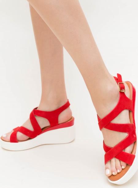 Sandale Dama Rosii Cu Platforma Alba