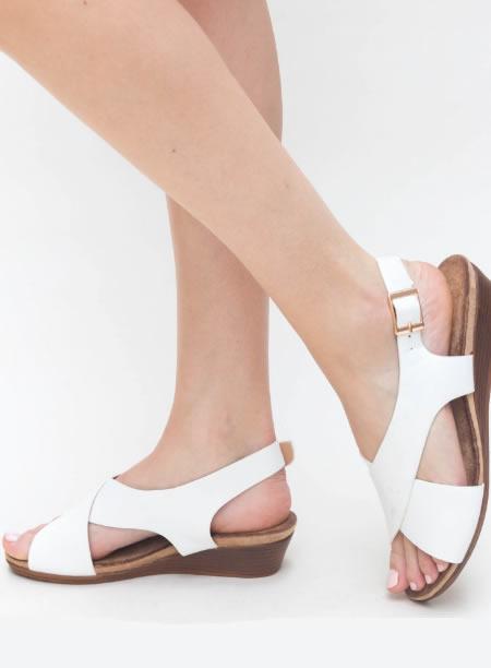 Sandale De Vara Cu Platforma Joasa Albe