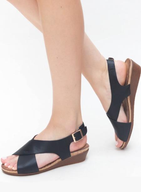 Sandale De Vara Cu Platforma Joasa Negre