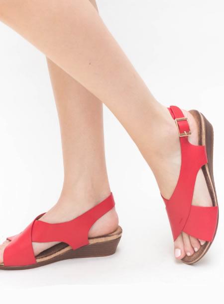 Sandale De Vara Cu Platforma Joasa Rosii
