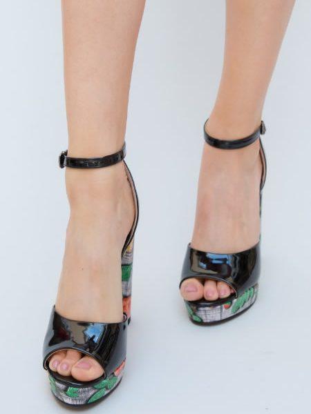 Sandale De Vara Cu Toc Si Platforma Negre