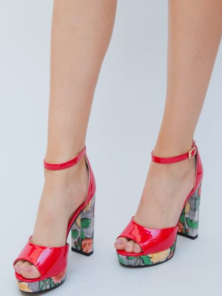 Sandale De Vara Cu Toc Si Platforma Rosii