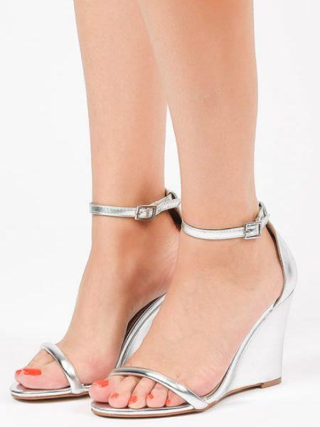 Sandale Elegante Argintii Cu Platforma