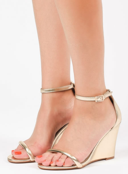 Sandale Elegante Aurii Cu Platforma