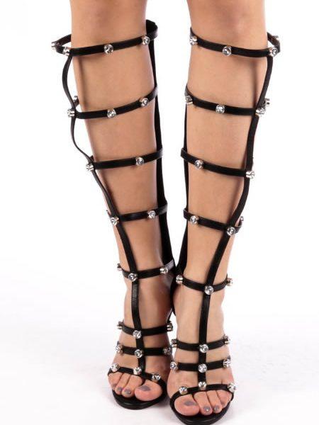 Sandale Elegante Negre Inalte Cu Toc Cui