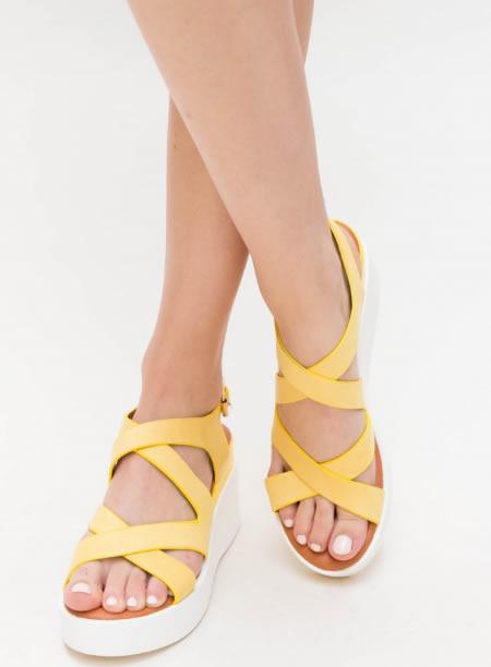 Sandale Galbene Cu Platforma Alba