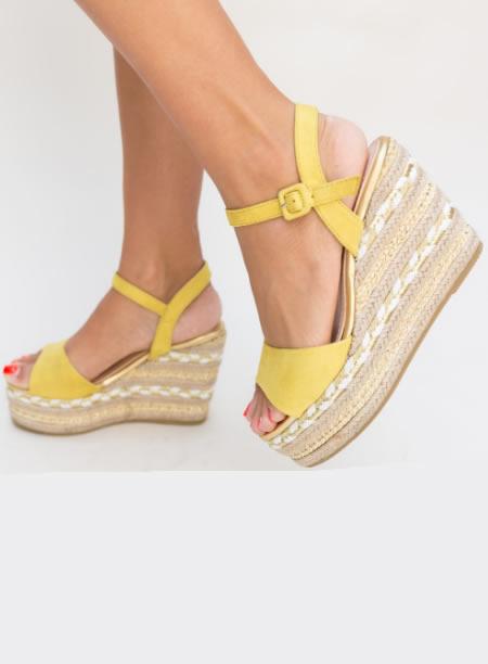 Sandale Galbene Cu Platforma Impletita Inalta
