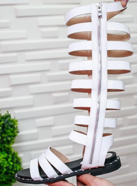 Sandale Gladiator Albe Lungi Cu Talpa Joasa