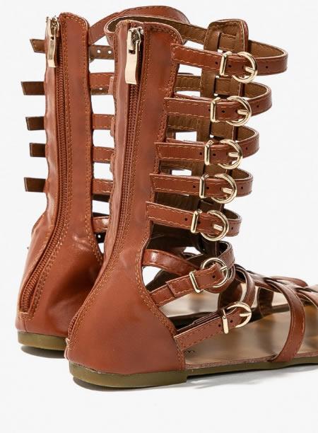 Sandale Gladiator Cu Talpa Joasa Scurte Maro