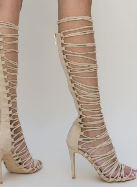 Sandale Gladiator Cu Toc Cui Bej