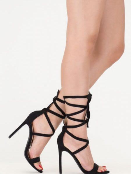 Sandale Gladiator Cu Toc Cui Negre