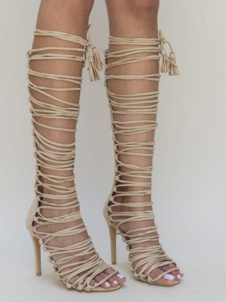 Sandale Gladiator Cu Toc Cui Pana La Genunchi