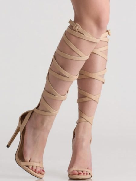 Sandale Gladiator Elegante Bej Cu Toc