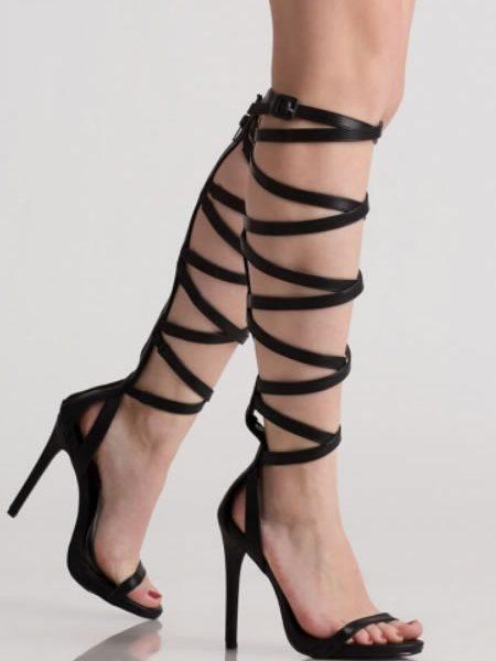 Sandale Gladiator Elegante Negre Cu Toc