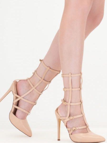 Sandale Gladiator Negre Inalte Bej