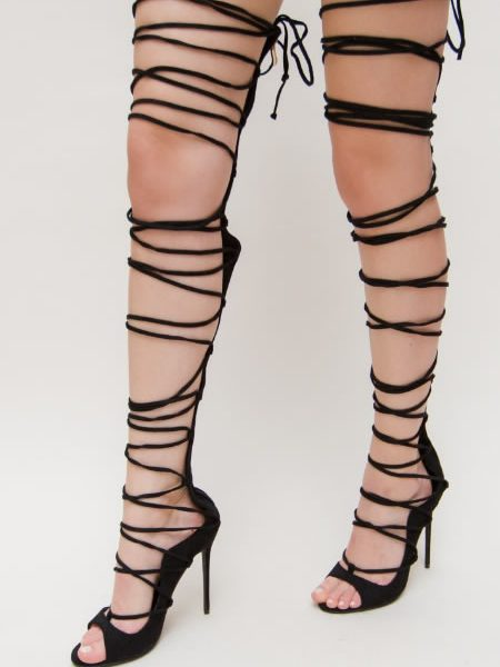 Sandale Gladiator Peste Genunchi Negre
