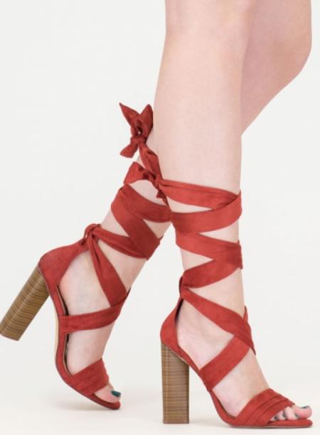 Sandale Gladiator Rosii Cu Toc Gros Inalt